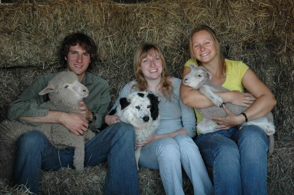 2008 April Nic (Canada), Katherina (German), Inas (German) with Jenny and lambs