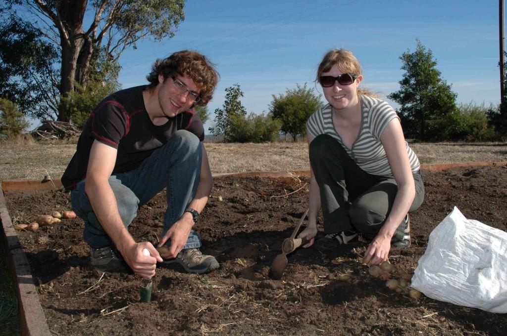 2008 April Nic (Canada), Katherina (German) planting potatoes