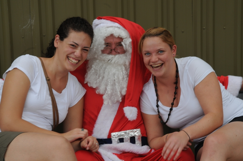 2010  December Simone (Germany) and Evelin (Germany) with Father Christmas