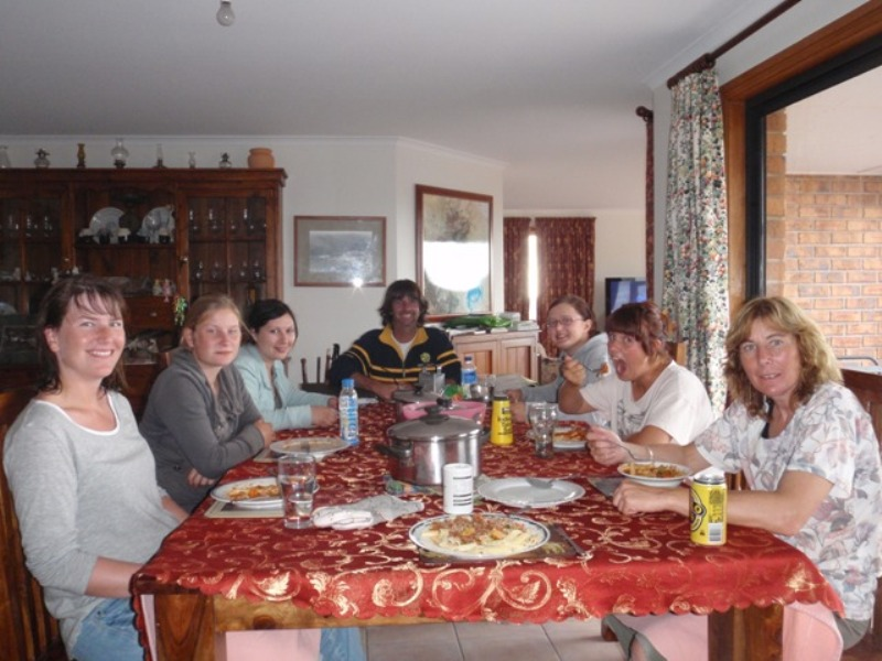 2011 February Claudia (Ger), Lea (totally German), Connie (Ger), Steve, Michaela (Swiss), Anna (Ger) and Ruth