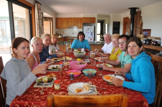 2012 January Maelin (Fra), Sandra (Swe), Yana (Ger), Ruth, Steve, Colin and Pam UK relatives, Chris (Swe) and Manuela (Ger)