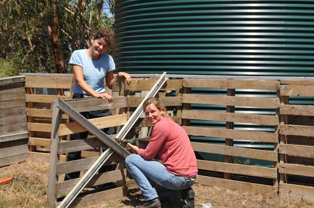 2012 January Manuela (Ger) and Jana (Ger) constructing a compost bin