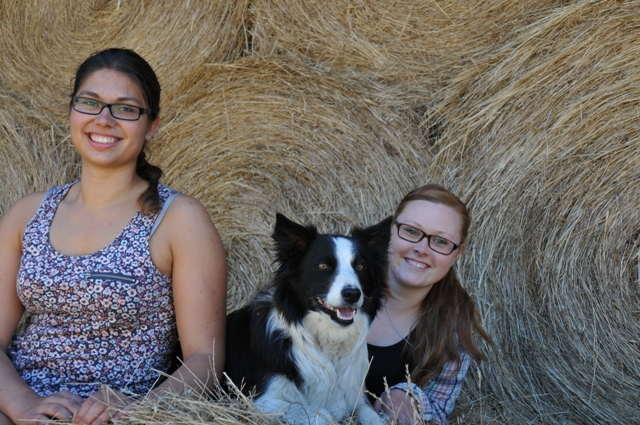 2013 December Sarah Jenny Laura in the hay shed
