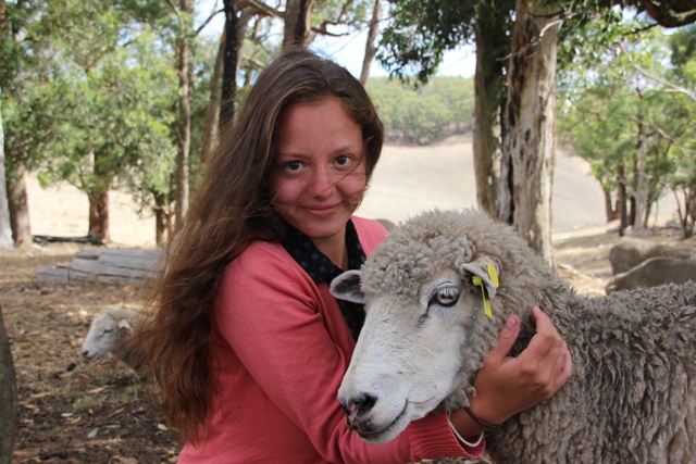 2014 February Laura(Ger) and our sheep